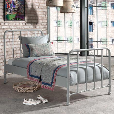 Einzelbett Bronxx Metall 90x200 - matt grau