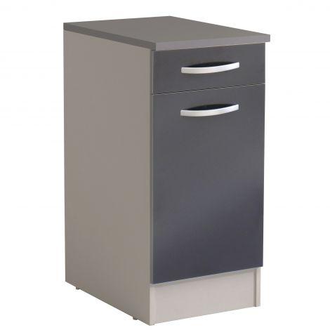 Basiseinheit Löffel 40x60 cm mit Schublade und Tür - glänzend grau