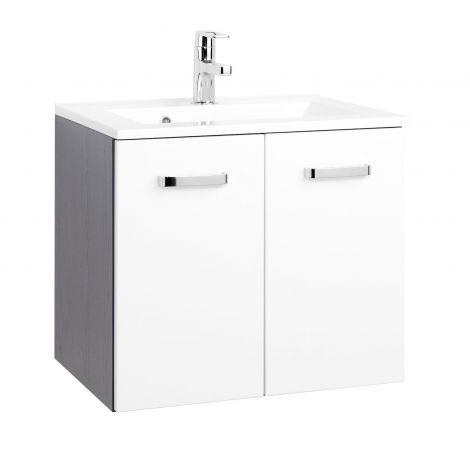 Waschtischunterschrank Bobbi 60cm mit 2 Türen und Keramikwaschbecken - graphit/hochglanz-weiß