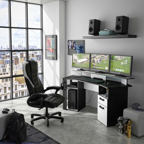 BUREAU - INVADERS desk with 1 drawer and 1 door Charcoal grey