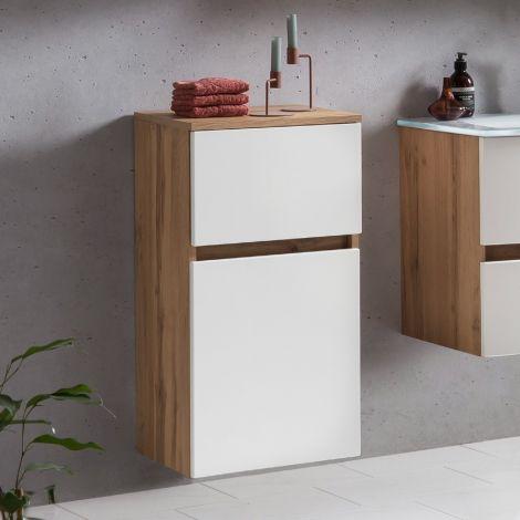 Badezimmerschrank Kornel/Luna 40cm 1 Tür und 1 Schublade - Eiche/mattweiß