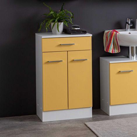 Badezimmerschrank Ricca 50cm 2 Türen und 1 Schublade - weiß/gelb