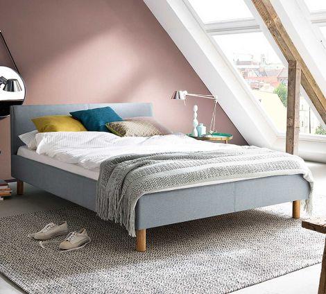 Gedempt bed Lena - 120x200 cm - ijsblauw
