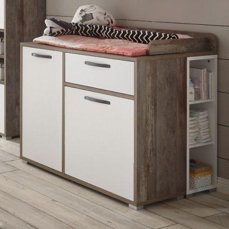 Petrus Kommode mit 2 Türen und 1 Schublade - weiß/ driftwood