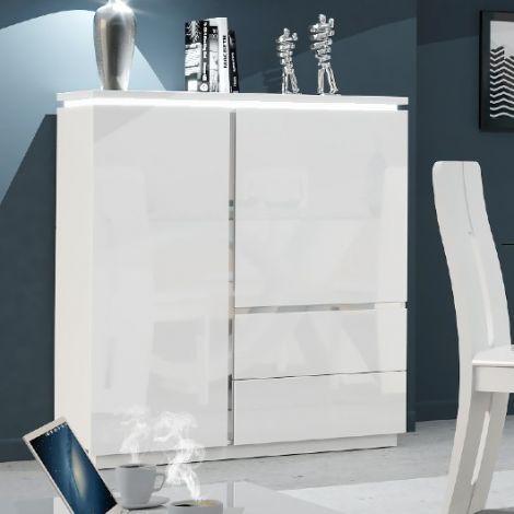 Buffetschrank Elif 110cm mit 2 Türen und 2 Schubladen - hochglanz-weiß