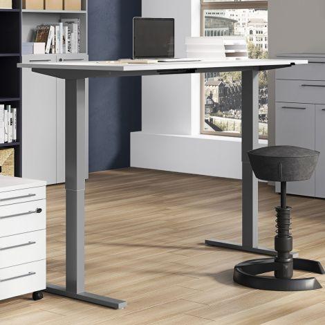 Sitz-Steh-Schreibtisch Osmond 180cm elektrisch verstellbar - hellgrau/silbern