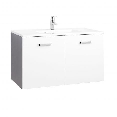 Waschbeckenschrank Bobbi 90cm 2-türig - graphit/hochglanz-weiß