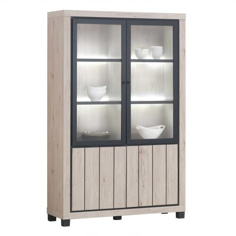Waschtischunterschrank Elke mit LED-Beleuchtung - Eiche