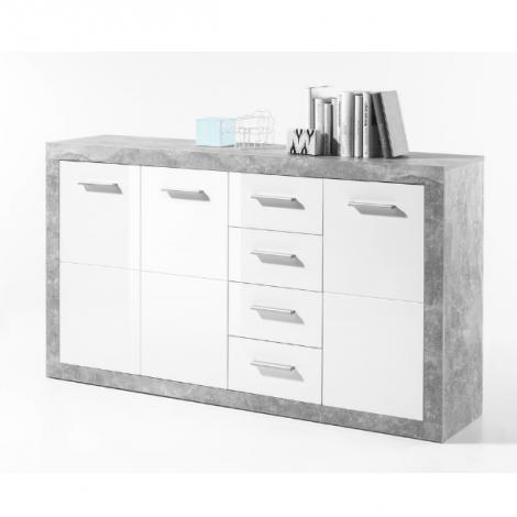 Sideboard Stanno 152 cm mit 3 Türen und 4 Schubladen - Beton/Weiß