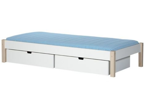 Kinderbett Milan mit Schubladen - weiß/Buche