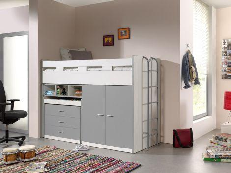Bonny 70er Halbschwelle mit Schreibtisch, Kommode und Kleiderschrank - silberfarben
