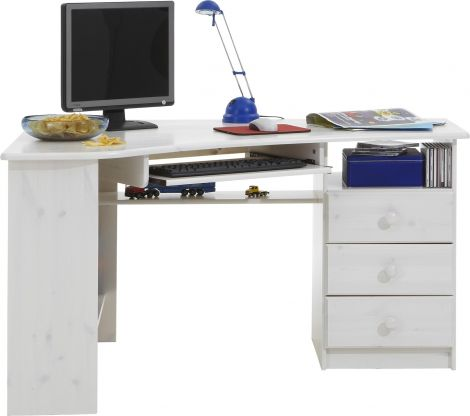 Desk KENT 279 - Corner desk with 3 drawers and pull-out leaf - WHITE WASH
