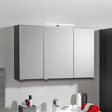 Spiegelschrank Bobbi 90cm Modell 2 3 Türen und led Beleuchtung - graphit