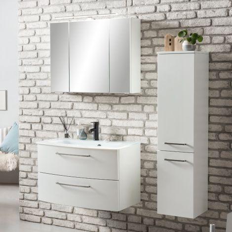 Badkombination Stivan 3-teilig mit weißem Waschbecken - weiß