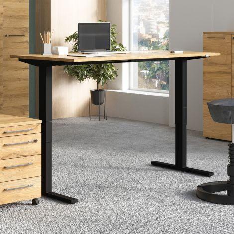 Sitz-Steh-Schreibtisch Osmond 180cm elektrisch verstellbar - Eiche/schwarz