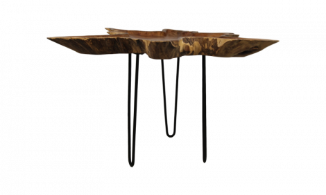 Couchtisch - ±70-80 cm - Teak Karottenholz / Eisen