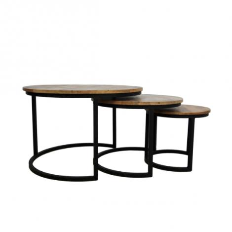 3er-Set Couchtische Ronin rund Mango-Holz/Eisen