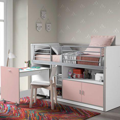 Halbhochbett mit Schreibtisch Bonny 91 - rosa