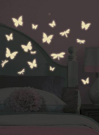 RoomMates Wandsticker - Schmetterlinge & Libellen im Dunkeln leuchtend