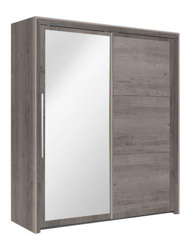 Kleiderschrank Raltas 191cm mit 2 Schiebetüren und Spiegel - Kastanie