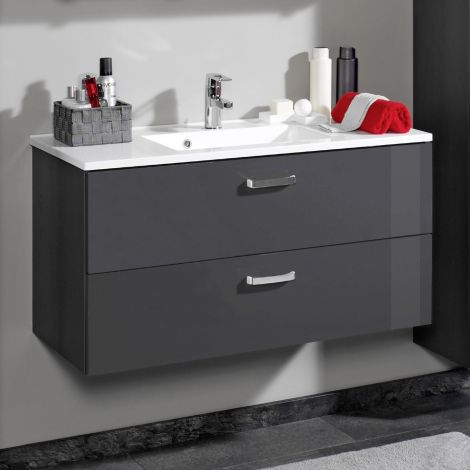 Waschtischunterschrank Bobbi 100cm 2 Schubladen - graphit/hochglanz-grau