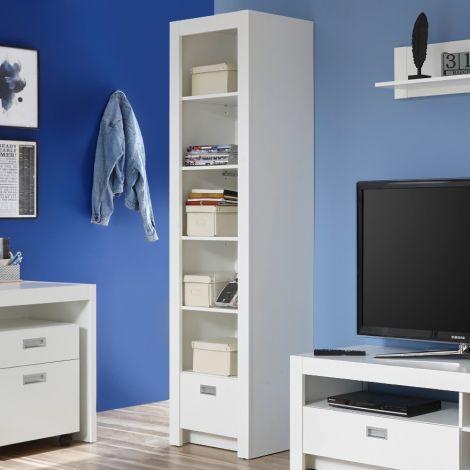 Arkea Bücherregal mit 1 Schublade - weiß