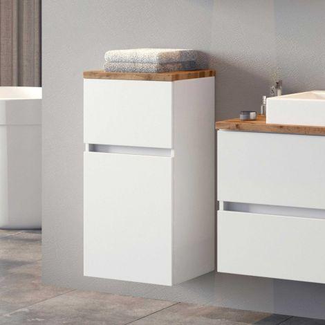 Badezimmerschrank Pisca 40cm 1 Tür und 1 Schublade - weiß