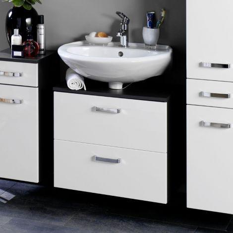 Waschtischunterschrank Bobbi 70cm 1 Tür und 1 Softclose-Schublade - graphit/hochglanz-weiß