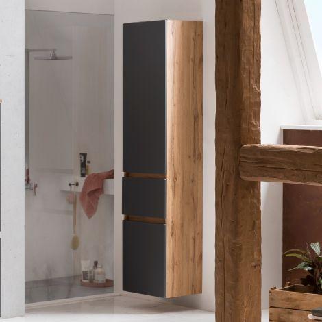Säulenschrank Kornel/Luna 40cm 2 Türen und 1 Schublade - Eiche/mattgrau
