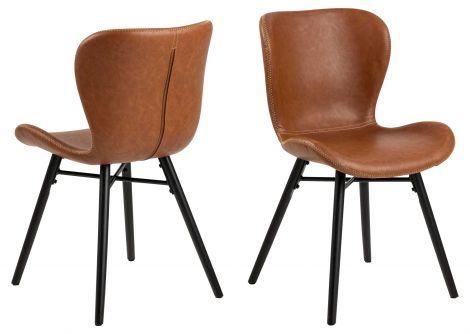 2er Set Kunstlederstühle Tilda mit schrägen Beinen - cognac/schwarz