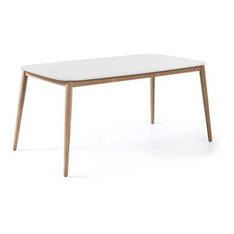 Helsinki duranite table 213x100 top white teak leg