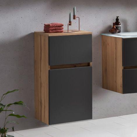 Badezimmerschrank Kornel/Luna 40cm 1 Tür und 1 Schublade - Eiche/mattgrau