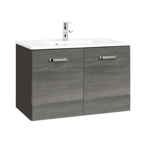 Waschbeckenschrank Bobbi 80cm 2 Türen - graphit/quecksilber