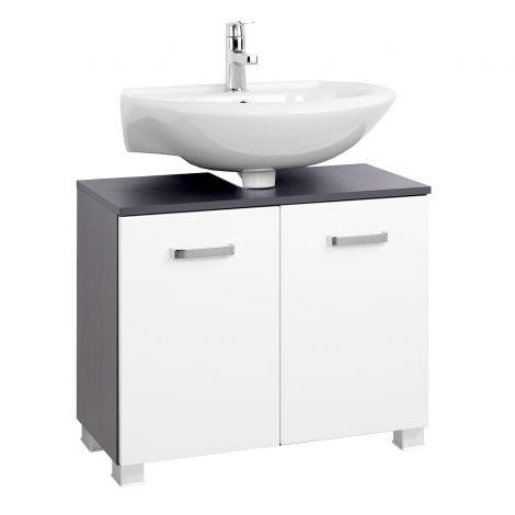 Waschbeckenschrank Bobbi 70cm 2-türig - graphit/hochglanz-weiß