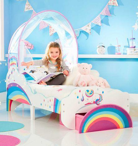 Kleinkind-Himmelbett mit Schublade Einhorn und Regenbogen