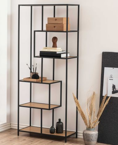 Seaford bookcase - matt black, matt black