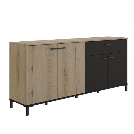 Sideboard Tando 180cm industriell - Eiche/schwarz