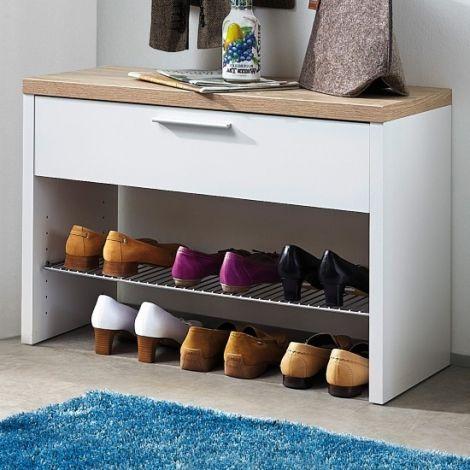 Tosun Schuhschrank mit 1 Schublade - weiß/Eiche