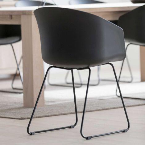 MOON 40 Chair w/black PP+SPY - grey, black - set of 2
