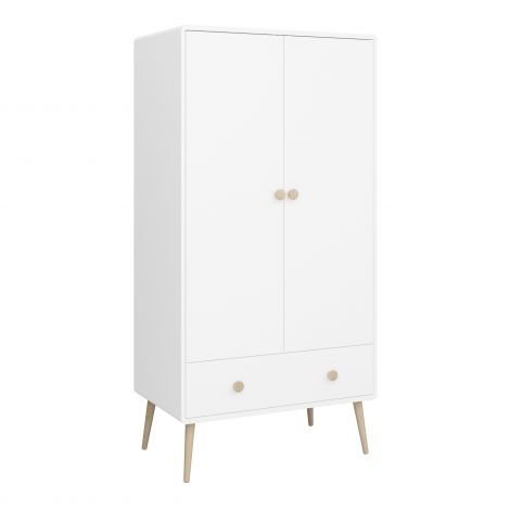 Wardrobe GAIA - Wardrobe with 2 doors and 1 drawer - EXTRA WHITE