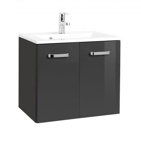 Waschbeckenunterschrank Bobbi 60cm 2-türig - graphit/hochglanz-grau
