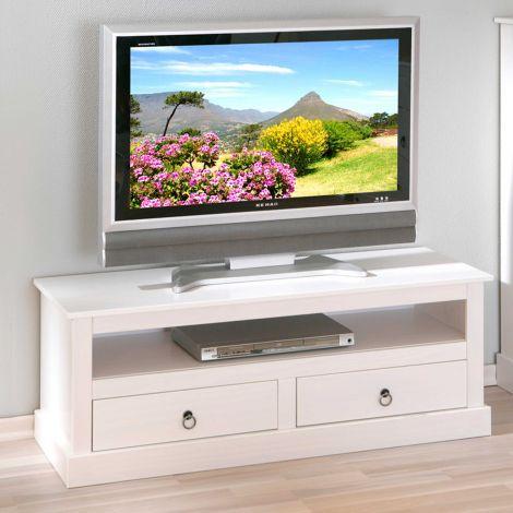 TV Lowboard Provence mit 2 Schubladen - weiß