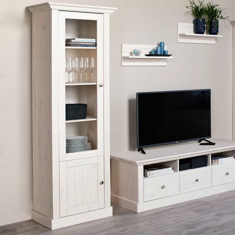 Display cabinet MONACO 126 - Display cabinet with 1+1 doors - WHITE WASH