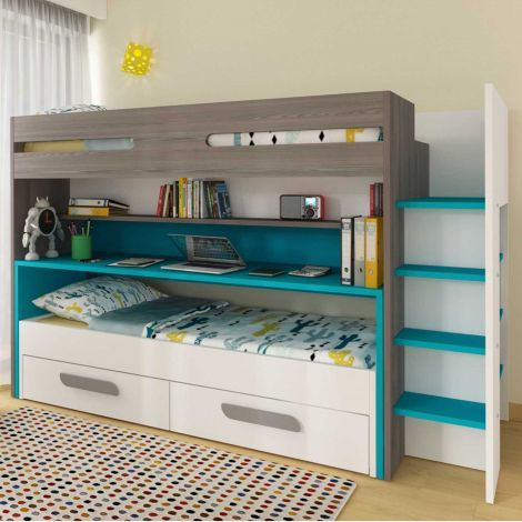 BO10 Bunk bed with desk Caribbean Blue color