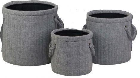 Set mit 3 Aufbewahrungskörben Strick - groß