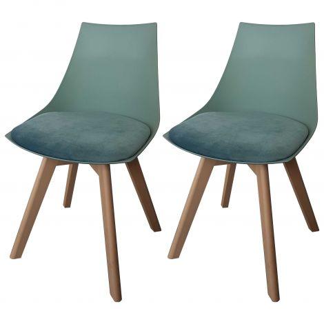 Set mit 2 Stühlen Cosmo - grün