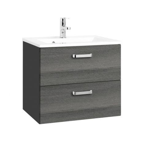 Waschtischunterschrank Bobbi 60cm 2 Schubladen - graphit/quecksilber
