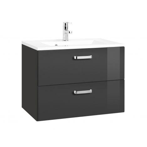 Waschtischunterschrank Bobbi 70cm 2 Schubladen - graphit/hochglanz-grau