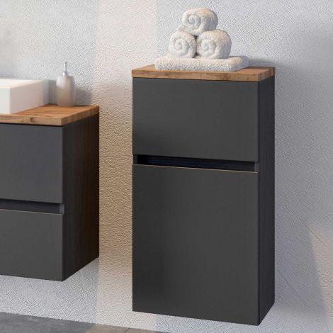 Badezimmerschrank Pisca 40cm 1 Tür und 1 Schublade - graphit