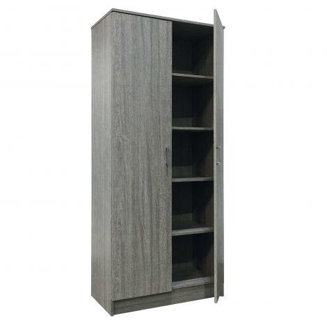 Schrank Ray 80cm mit 2 Türen und 4 Einlegeböden - Eiche grau